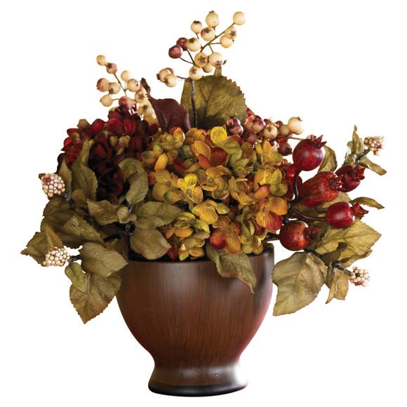 Autumn Hydrangea w/Round Vase - SKU #4680