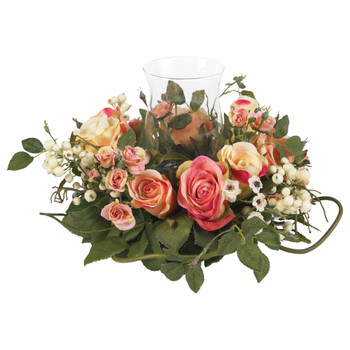 Rose Candelabrum Silk Flower Arrangement - SKU #4685-AP