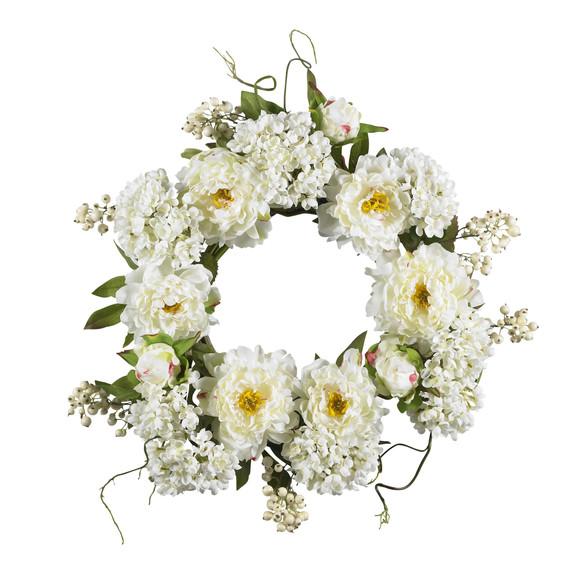 20 Peony Hydrangea Wreath - SKU #4690