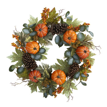 24 Pumpkins Pine Cones and Berries Fall Artificial Wreath - SKU #4701