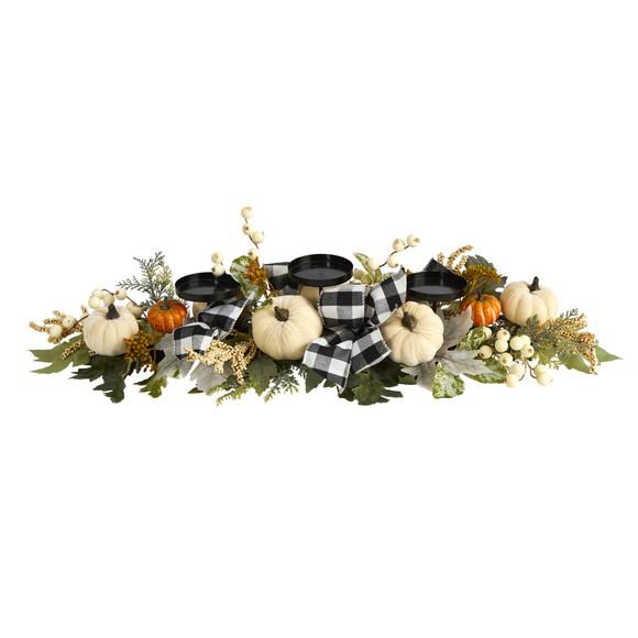 32 White Pumpkin and Berries Artificial Candelabrum - SKU #4702