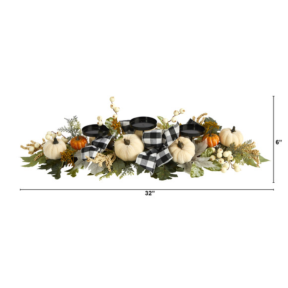 32 White Pumpkin and Berries Artificial Candelabrum - SKU #4702 - 1