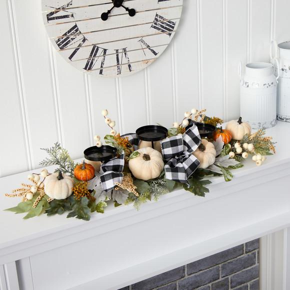 32 White Pumpkin and Berries Artificial Candelabrum - SKU #4702 - 2