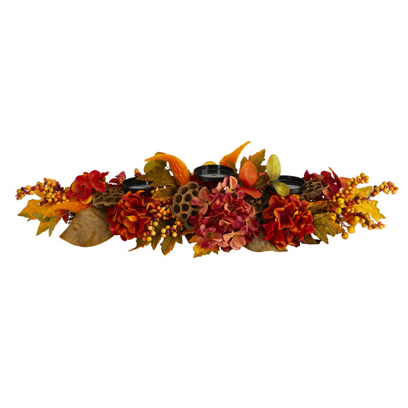 32 Fall Hydrangea Lotus Seed and Berries Artificial Candelabrum Arrangement - SKU #4711
