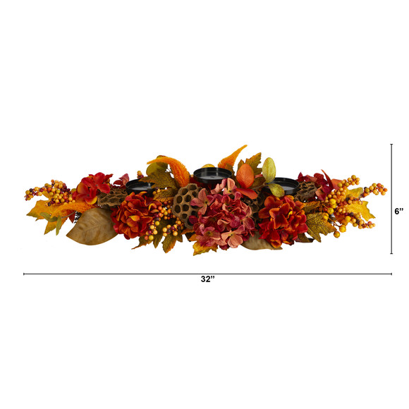 32 Fall Hydrangea Lotus Seed and Berries Artificial Candelabrum Arrangement - SKU #4711 - 1
