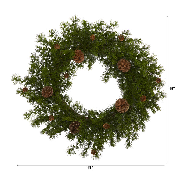 18 Alpine Pine and Pine Cone Artificial Wreath - SKU #4721 - 1