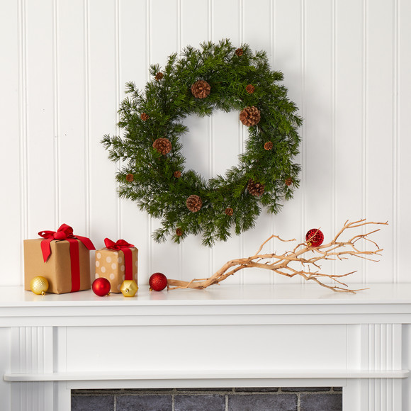 18 Alpine Pine and Pine Cone Artificial Wreath - SKU #4721 - 2