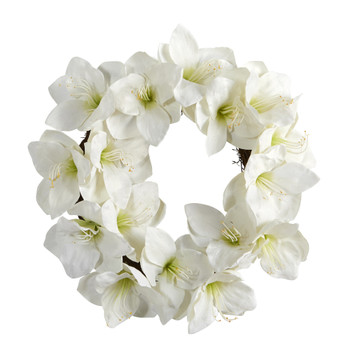 18 White Amaryllis Artificial Wreath - SKU #4722