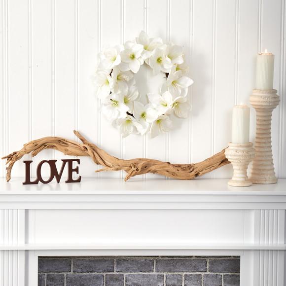 18 White Amaryllis Artificial Wreath - SKU #4722 - 2