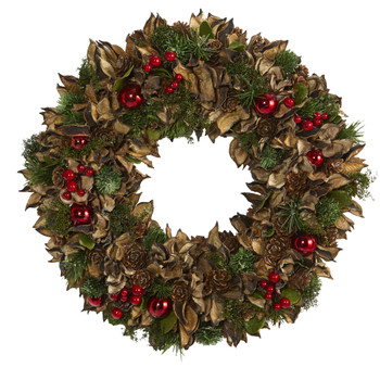 15 Holiday Artificial Wreath with Pine Cones and Ornaments - SKU #4725