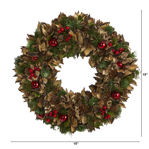 15 Holiday Artificial Wreath with Pine Cones and Ornaments - SKU #4725 - 1