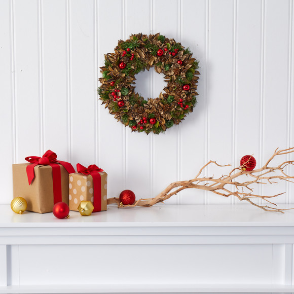 15 Holiday Artificial Wreath with Pine Cones and Ornaments - SKU #4725 - 2