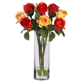 Roses w/Glass Vase Silk Flower Arrangement - SKU #4740