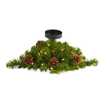 16 Christmas Pine Candelabrum with 35 Lights and Pine Cones - SKU #4751