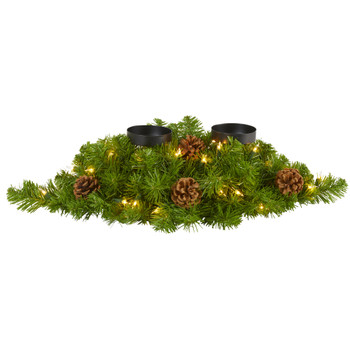 24 Artificial Christmas Double Candelabrum with 35 Warm White Lights and Pine Cones - SKU #4753