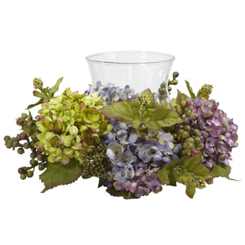 Mixed Hydrangea Candelabrum Silk Arrangement - SKU #4758