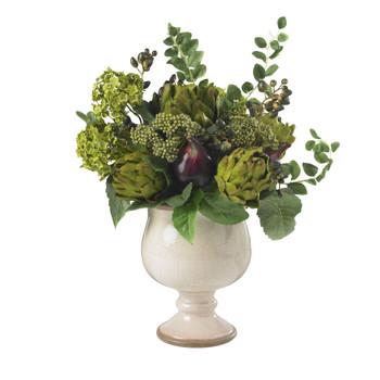 Artichoke and Hydrangea Silk Flower Arrangement - SKU #4759