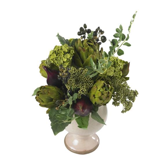 Artichoke and Hydrangea Silk Flower Arrangement - SKU #4759 - 1