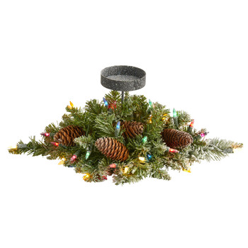 16 Flocked Artificial Christmas Pine Candelabrum with 35 Multicolored Lights and Pine Cones - SKU #4765
