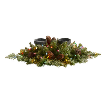 24 Flocked Artificial Christmas Double Candelabrum with 35 Multicolored Lights and Pine Cones - SKU #4767