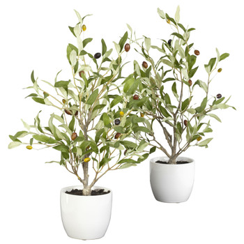 18 Olive Silk Tree w/Vase Set of 2 - SKU #4774-S2