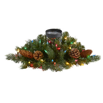 16 Flocked and Glittered Artificial Christmas Pine Candelabrum with 35 Multicolored Lights and Pine Cones - SKU #4775