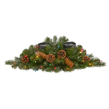 24 Flocked and Glittered Artificial Christmas Double Candelabrum with 35 Multicolored Lights and Pine Cones - SKU #4777