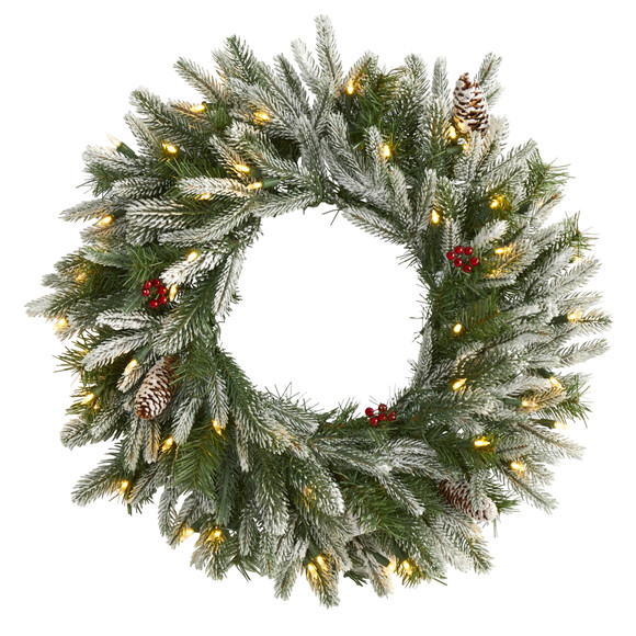24 Snowed Artificial Christmas Wreath with 50 Warm White LED Lights and Pine Cones - SKU #4784