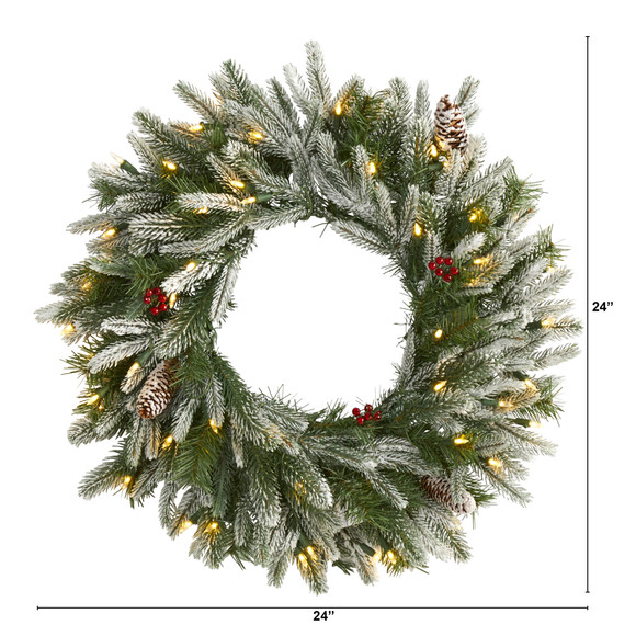 24 Snowed Artificial Christmas Wreath with 50 Warm White LED Lights and Pine Cones - SKU #4784 - 1