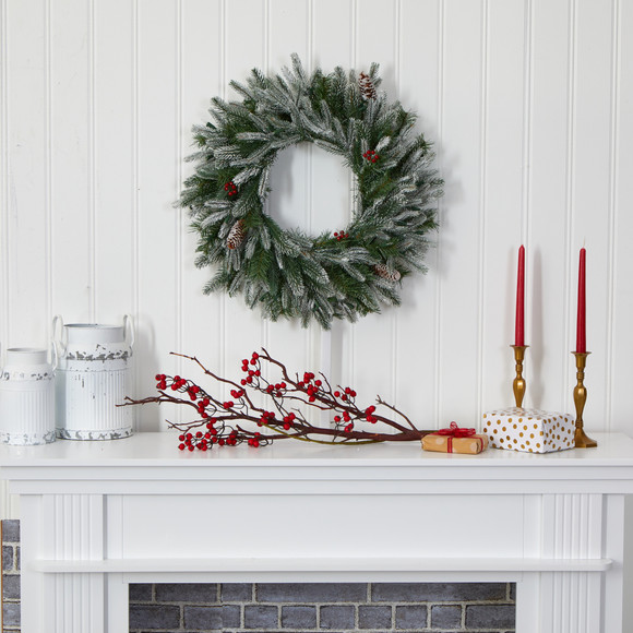 24 Snowed Artificial Christmas Wreath with 50 Warm White LED Lights and Pine Cones - SKU #4784 - 4