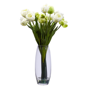Tulip with Vase Silk Flower Arrangement - SKU #4792
