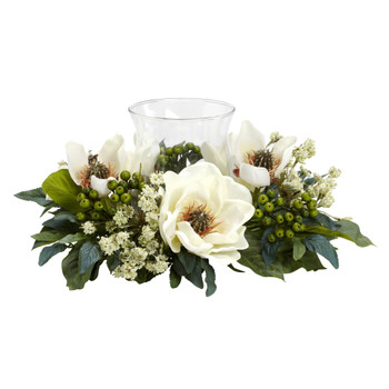 Magnolia Candelabrum Silk Flower Arrangement - SKU #4794