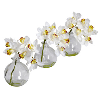 Cymbidium w/Vase Silk Flower Arrangement Set of 3 - SKU #4797