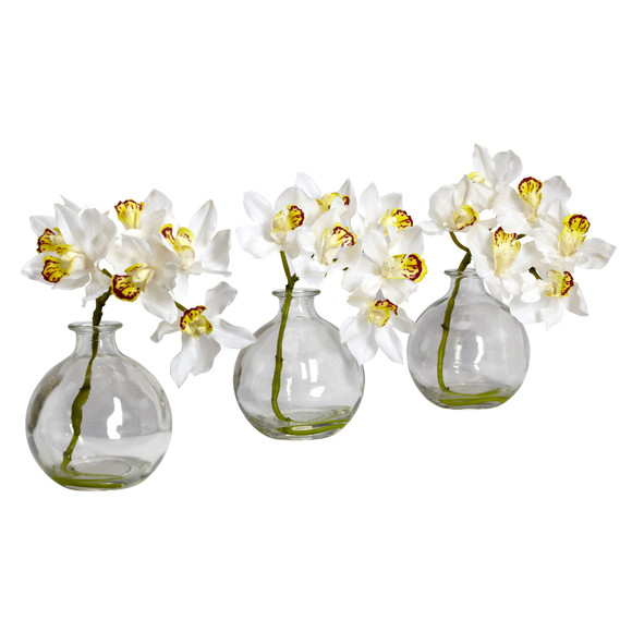 Cymbidium w/Vase Silk Flower Arrangement Set of 3 - SKU #4797 - 1