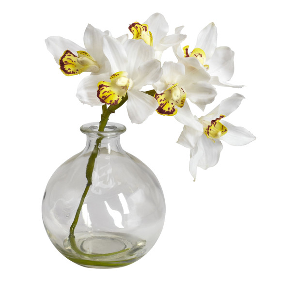 Cymbidium w/Vase Silk Flower Arrangement Set of 3 - SKU #4797 - 2