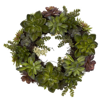 20 Succulent Wreath - SKU #4798