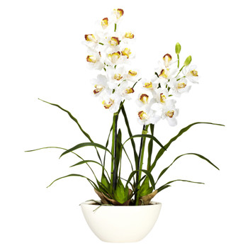 Cymbidium w/White Vase Silk Flower Arrangement - SKU #4803