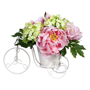 Peony Hydrangea Tricycle Silk Flower Arrangement - SKU #4807