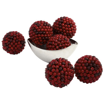 5 Red Berry Ball Set of 6 - SKU #4812-S6