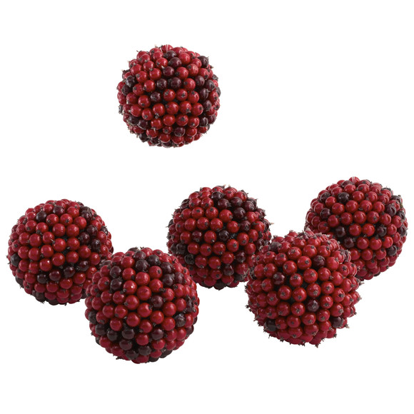5 Red Berry Ball Set of 6 - SKU #4812-S6 - 2