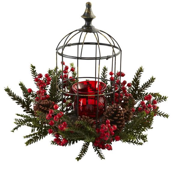 Pine Berry Birdhouse Candelabrum - SKU #4814