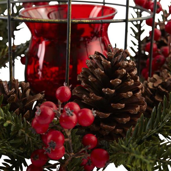 Pine Berry Birdhouse Candelabrum - SKU #4814 - 2
