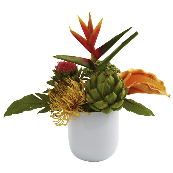 Tropical Floral Arrangement w/White Glass Vase - SKU #4820