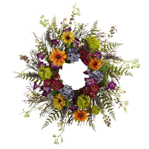 24 Spring Garden Wreath w/Twig Base - SKU #4821