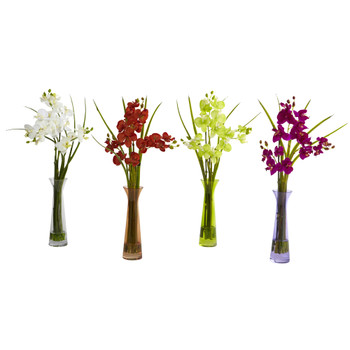 Mini Phal w/Colored Vase Set of 4 - SKU #4823-S4