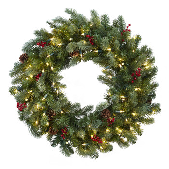 30 Lighted Pine Wreath w/Berries Pine Cones - SKU #4860