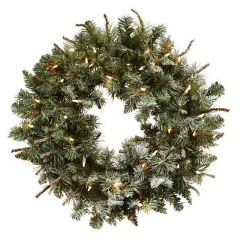 30 Lighted Frosted Pine Wreath - SKU #4861