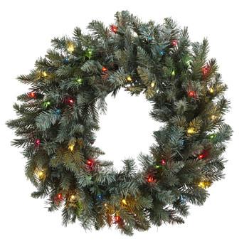 30 Pine Wreath w/Colored Lights - SKU #4862