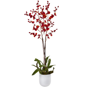Dancing Orchid w/White Glass Vase - SKU #4866-RU
