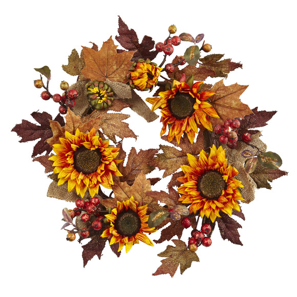 24 Sunflower Berry Wreath - SKU #4867